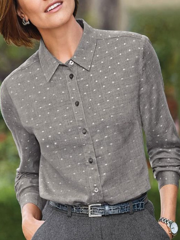Plus Size Vintage Polka Dots Long Sleeve Casual Shirts Tops