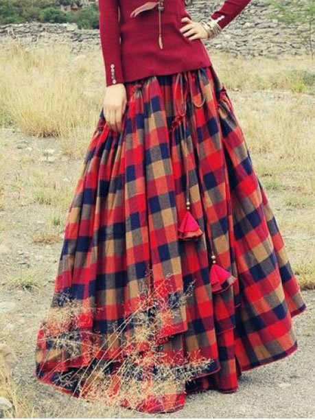 Asymmetric Checkered/plaid Cotton-Blend Skirts