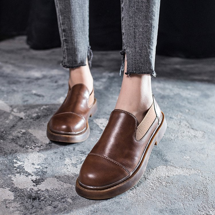 Women Casual Panel Summer Low Heel Oxfords Shoes