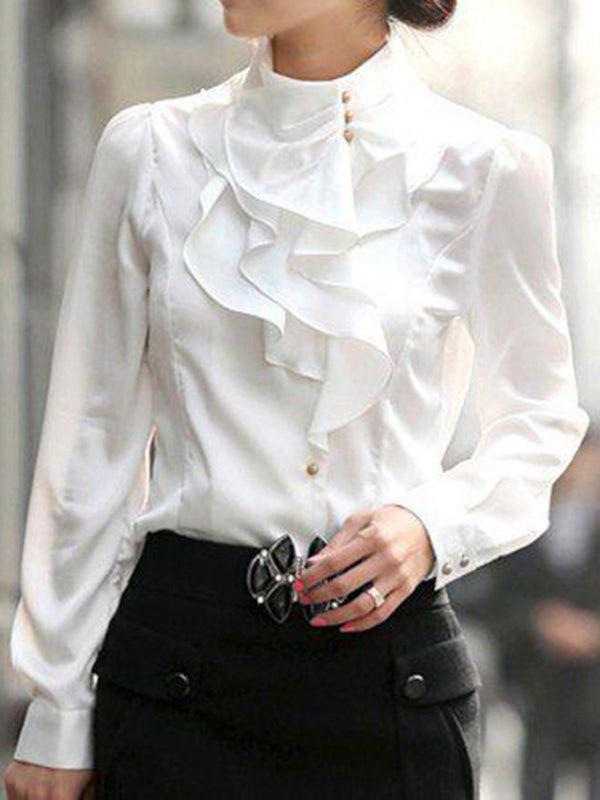 Women Ruffled Crew Neck Solid Elegant Blouses