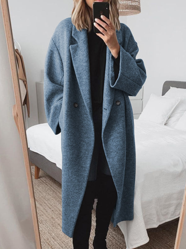 Women Pockets Solid Wool-blend Coat