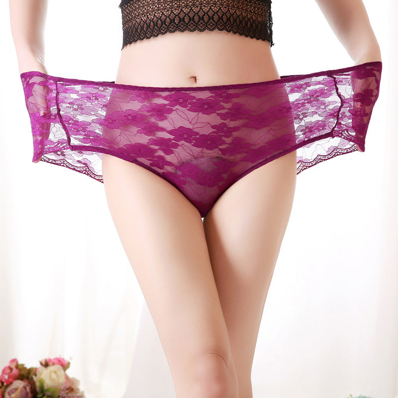 Plus Size Sexy Lace  Cotton Panties
