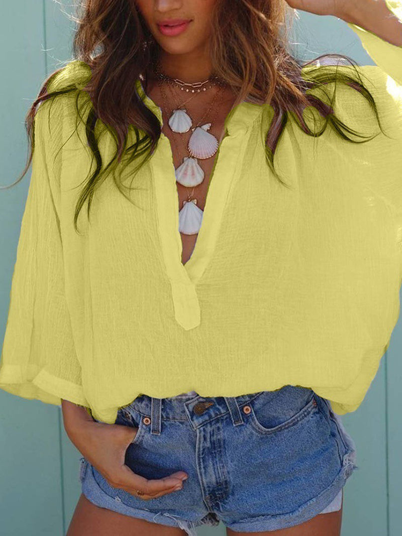 Casual Solid V Neck Blouse
