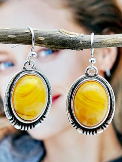 Yellow Alloy Earrings