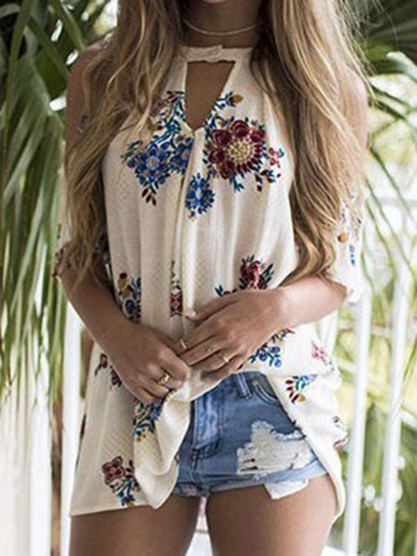 Flower Printed Sleeveless Keyhole Shirts & Tops