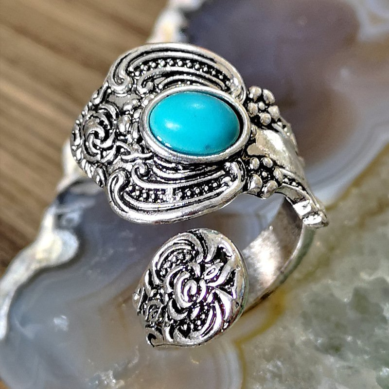 Vintage turquoise Sliver Rings