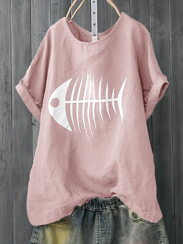 Plus Size Fish Bone Print Crew Neck Casual Women Summer T-shirts