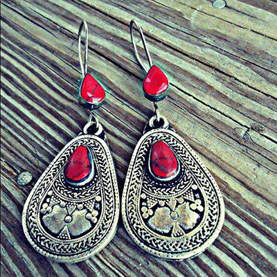 Woman Red Vintage Tribal Holiday Earrings