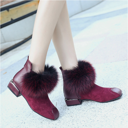 Wine Red Casual Flat Heel Spring/Fall Suede Boot