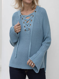 Blue Solid Knitted Long Sleeve V Neck Shirts & Tops