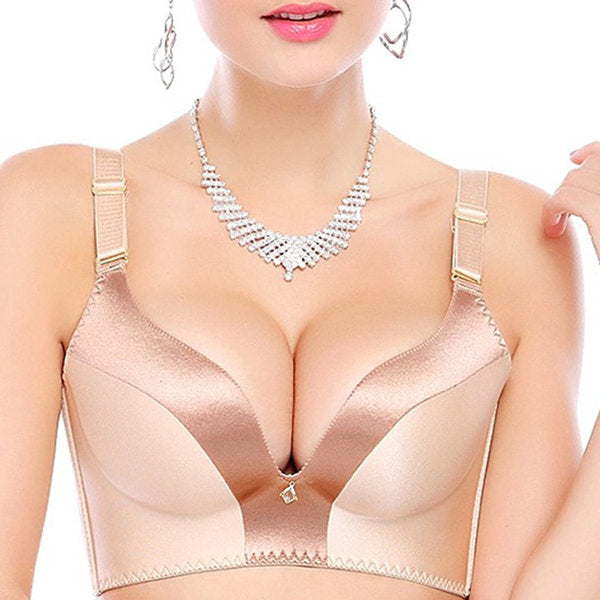 Nightcup Sexy Push Up Seamfree Low Plunge Patchwork Wireless Bras