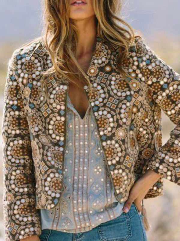 Khaki Cotton-Blend Long Sleeve Tribal Outerwear