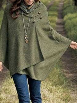 Army Green Plain Cotton 3/4 Sleeve Outerwear