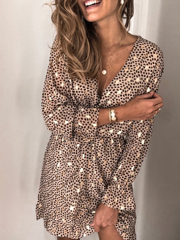 Plus Size Leopard Print Long Sleeve V Neck Statement Dresses
