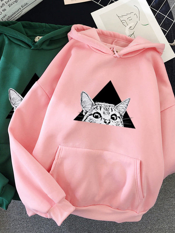 Plus size cat Animal Cotton Hoodie Sweatshirt