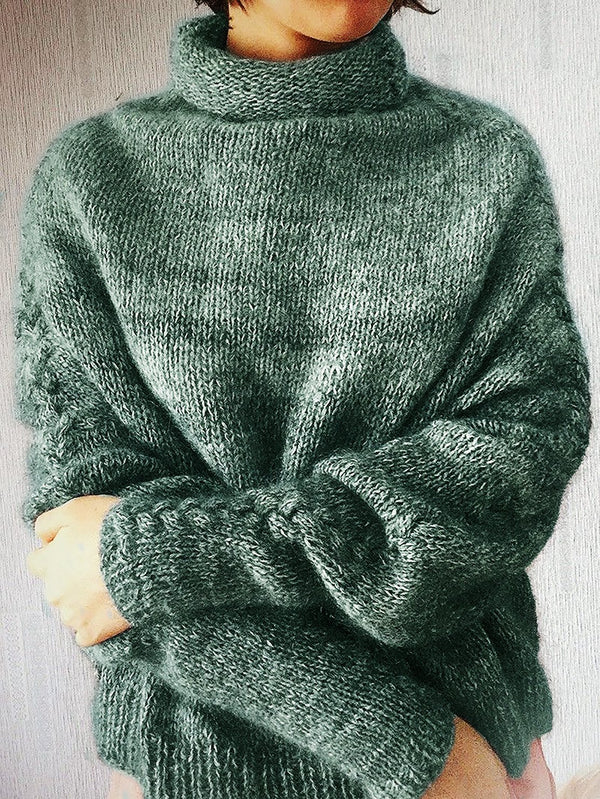 Knitted Turtleneck Long Sleeve Shift Sweater