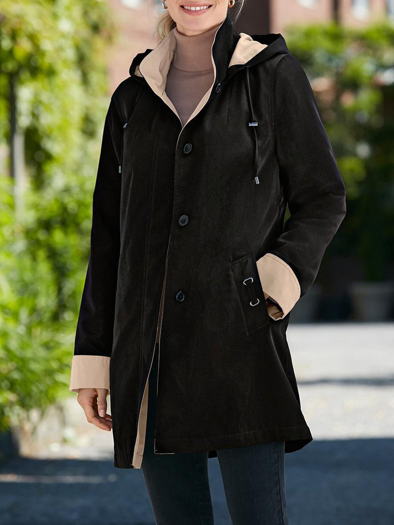 Simple Solid Hoodie Shift Outerwear