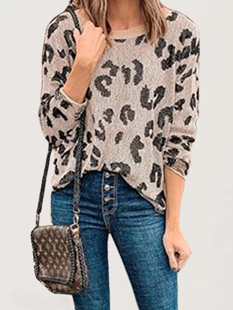 Casual Plus Size Leopard Printed Crew Neck Top
