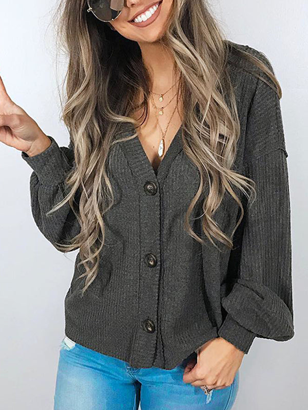 Plus Size Black Casual Knitted Long Sleeve Solid Outerwear