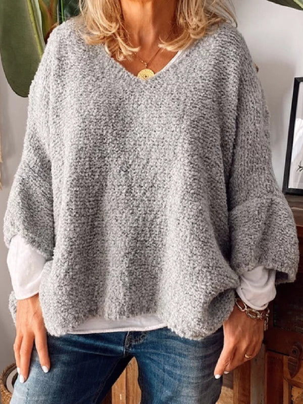 Casual Plus Size V Neck Frill Sleeve Sweater Pullover