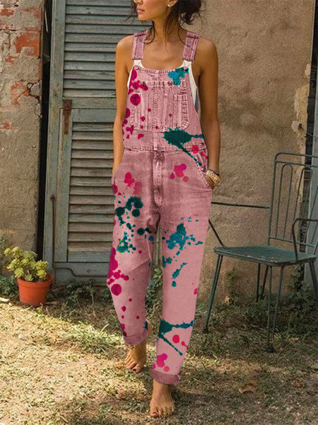 Women Casual Printed Overalls Rompers & Jumpsuit Jeans Pants Overalls