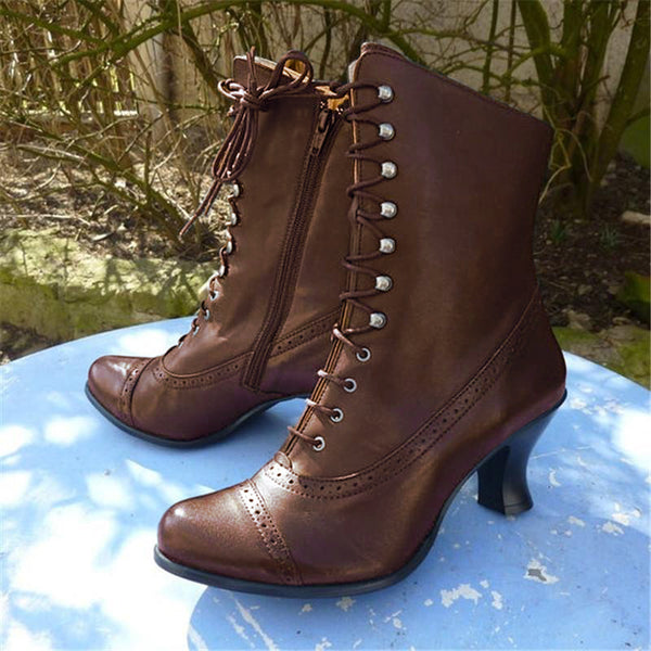 Casual Low Heel Zipper Women Lether PU Boots