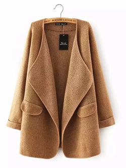 Camel Solid Casual Quilted Coat