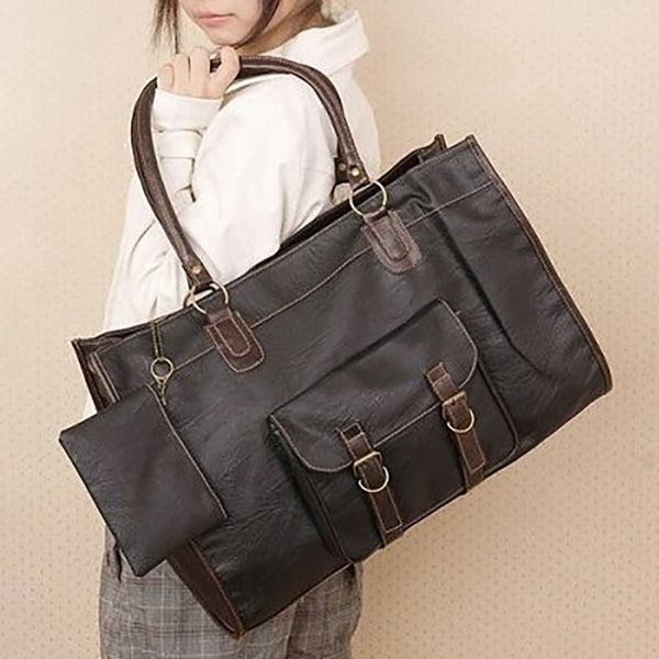 Women Coffee Vintage Leather Large PU Bags Travel Tote Purse Book Bags