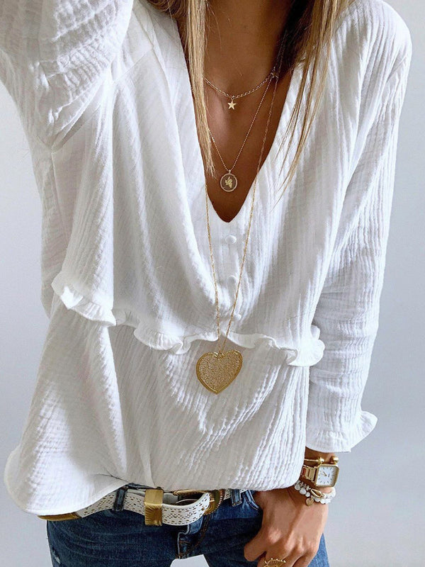 Women Ruffled Long Sleeves Solid Casual Tops
