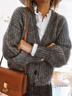 Women Buttoned Solid Casual Sweater Cardigan