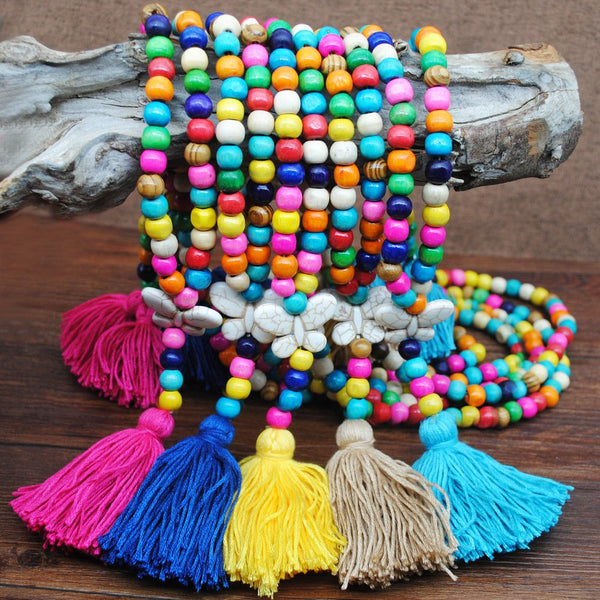 Ladies Colorful Fringed Long Necklaces