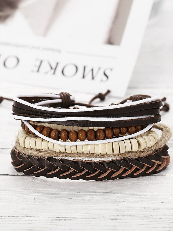 Brown Casual Pu Bracelets