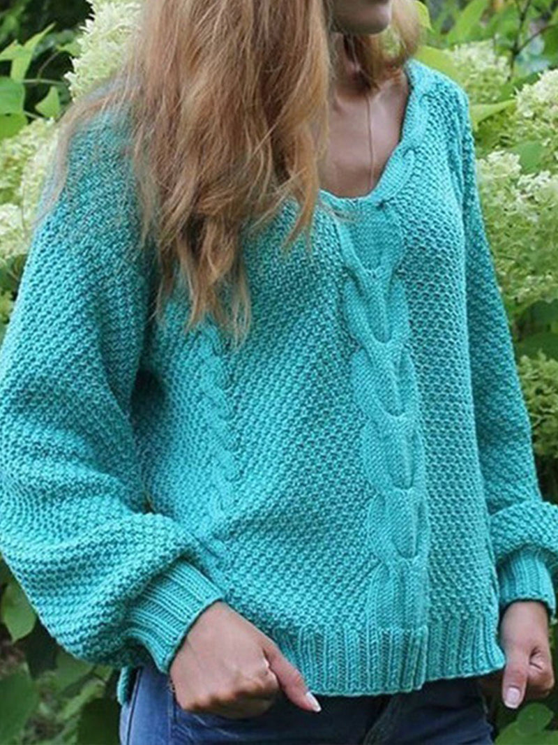 Casual Plain Knitted V-neck Long Sleeve Sweater