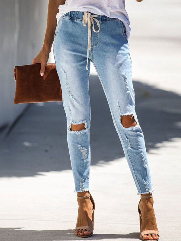 Light Blue Casual Denim Pants