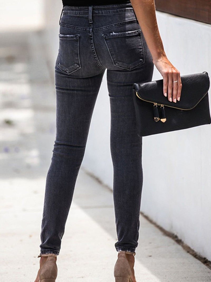 Gray Denim Casual Sheath Pants