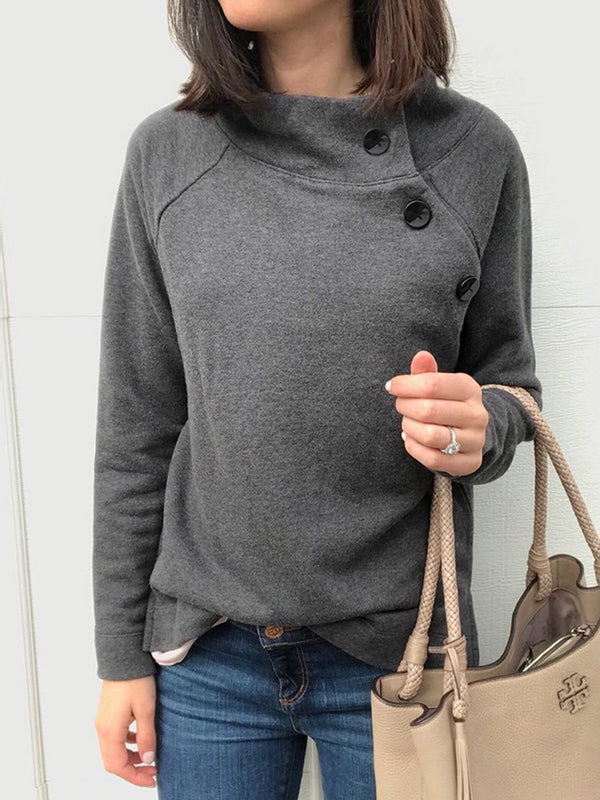Cotton-Blend Casual Plain Sweatshirt