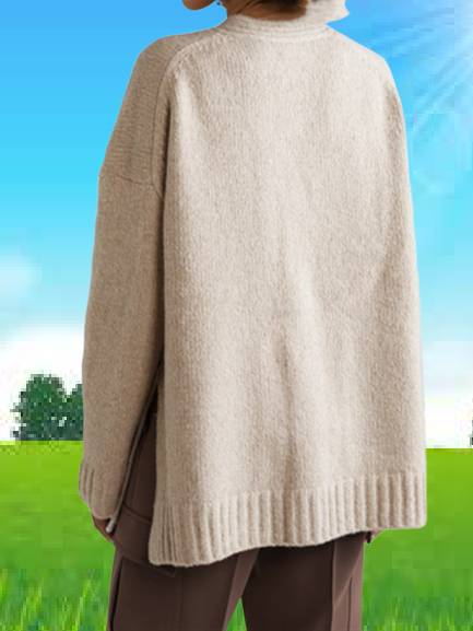 Knitted V Neck Solid Long Sleeve Outerwear