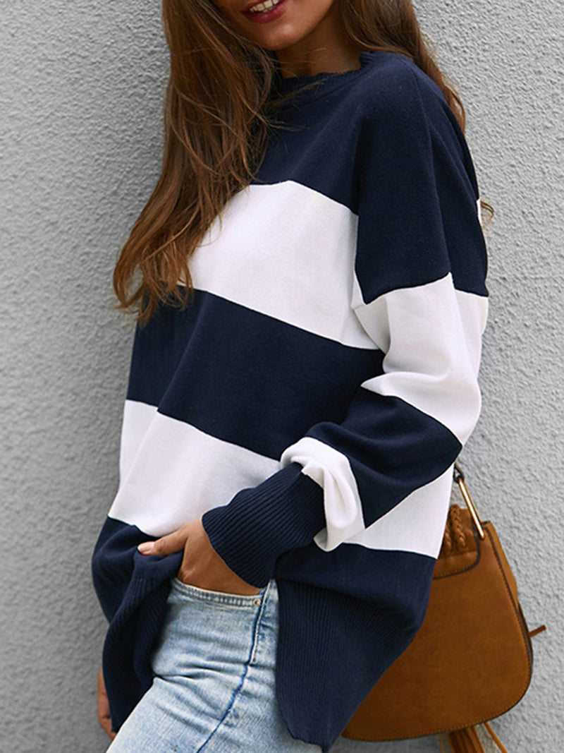 Stripes Cotton-Blend Crew Neck Long Sleeve Sweater