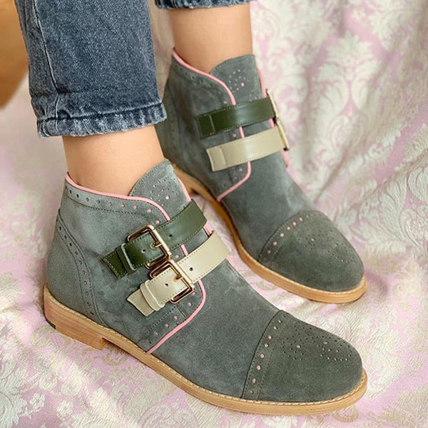Low heel buckle low tube women's boots