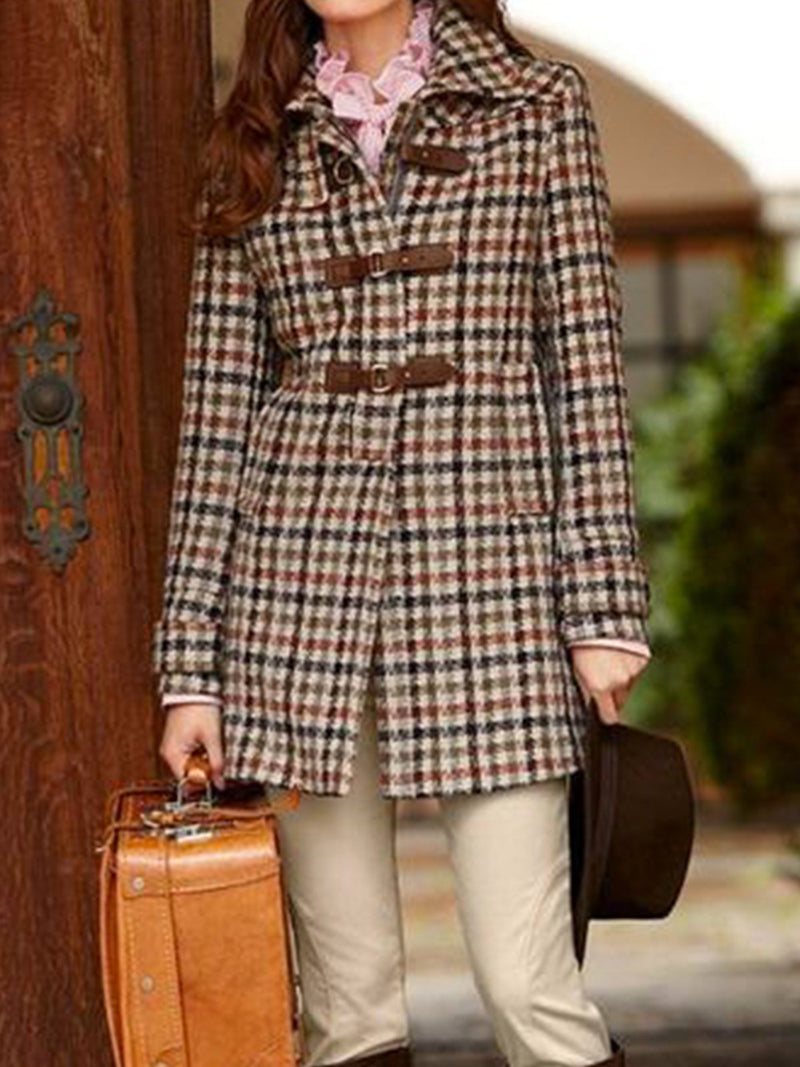 Plus size British style retro Casual Checkered/plaid Cotton Outerwear
