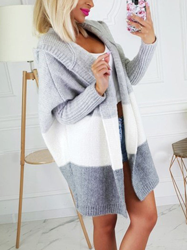Casual Hoodie Long Sleeve Knitted Cardigan
