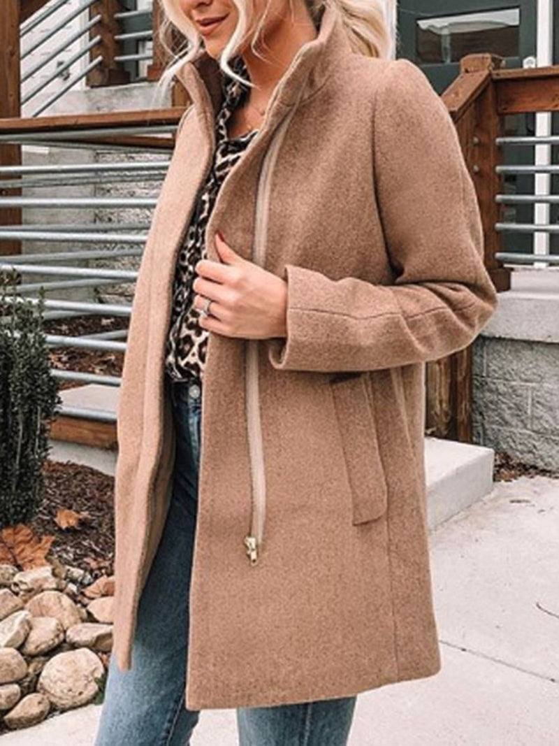 Camel Long Sleeve Casual Outerwear