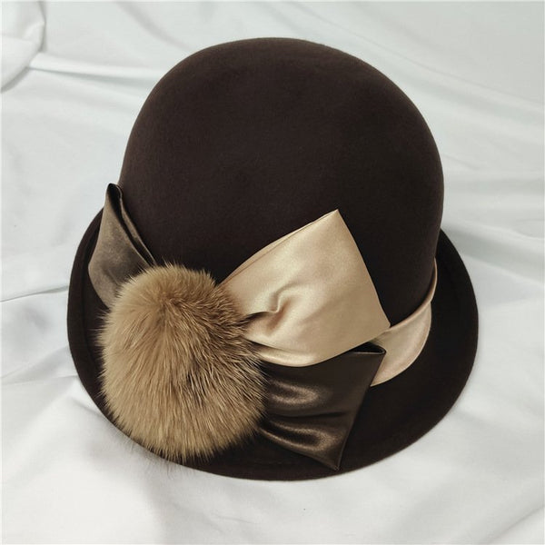 Fox fur ball vintage english felt hat