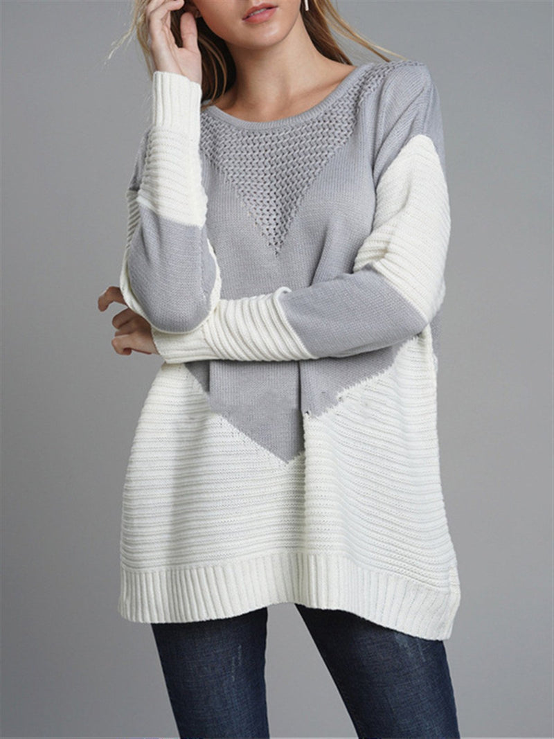 Crew Neck Long Sleeve Casual Sweater