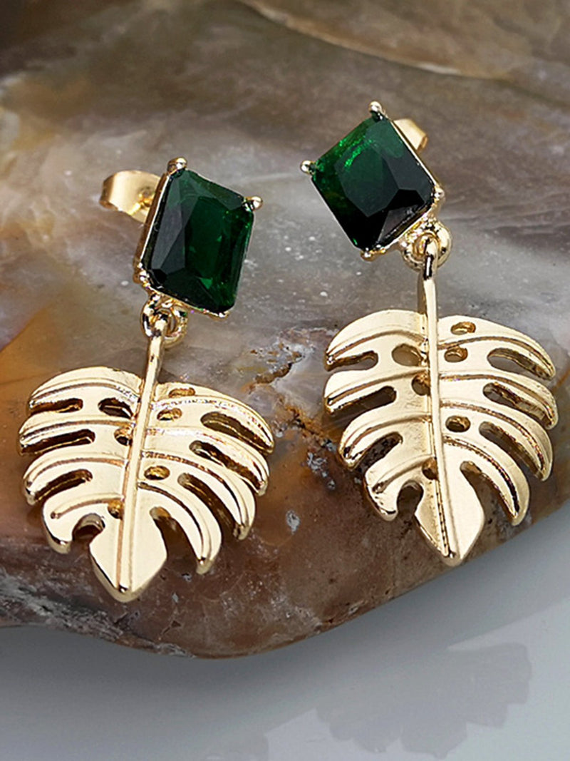 Green Alloy Casual Earrings