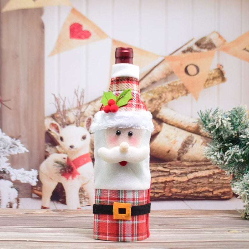 Santa Claus is decorated with Christmas wine bottles