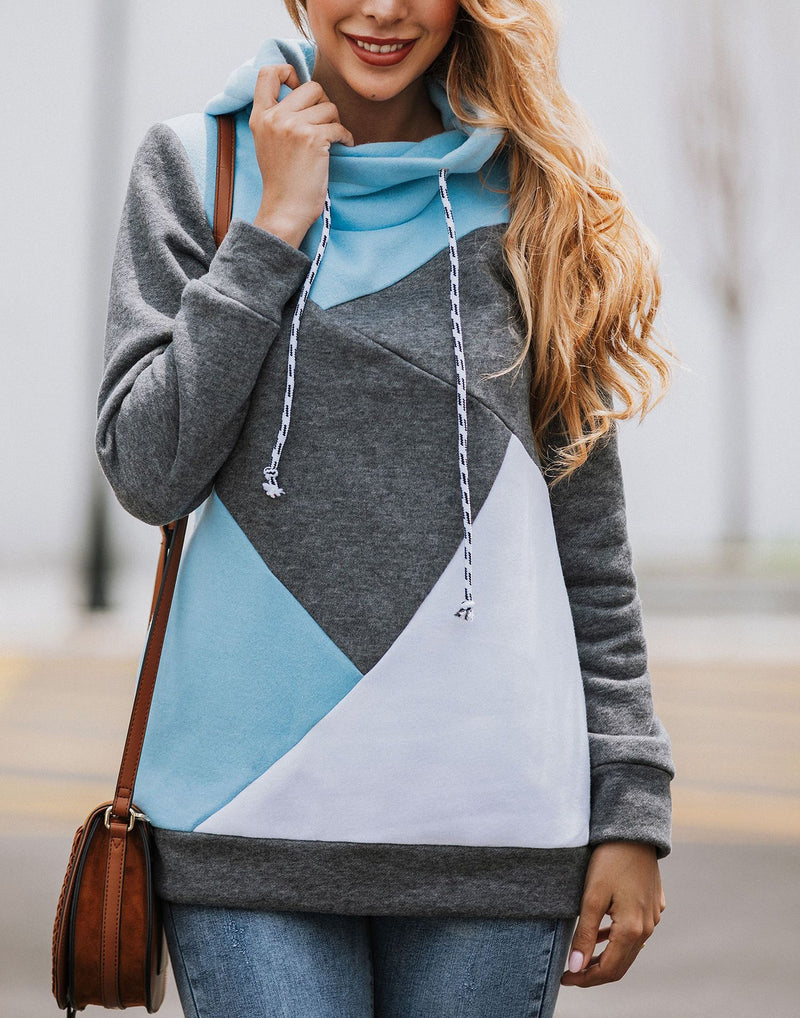 Paneled Casual Plus Size Patchwork Sweatshirt