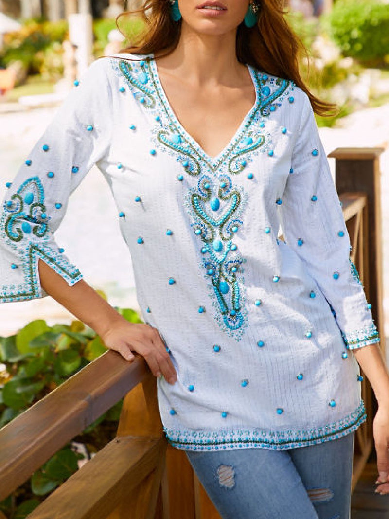 Vintage Beads Crystals Sequin Embroidery Blouse Shirt