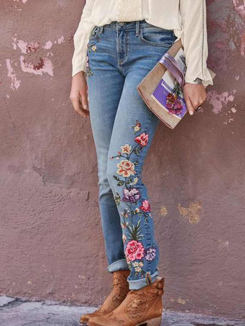 Casual Plus Size Floral Embroidery Denim Pants