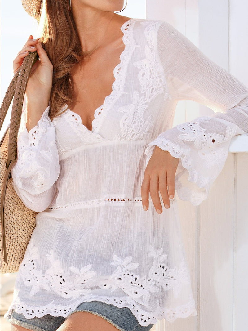 Casual Plus Size Lace Embroidery V Neck Blouse Shirts